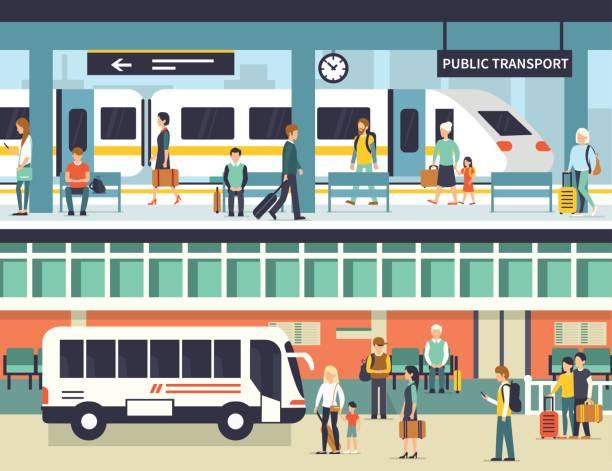 public transport vector art illustration