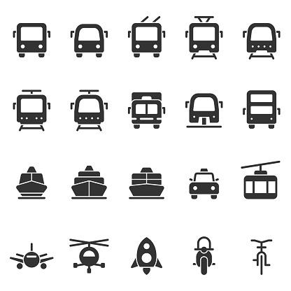 Public transport vector shape style icon set