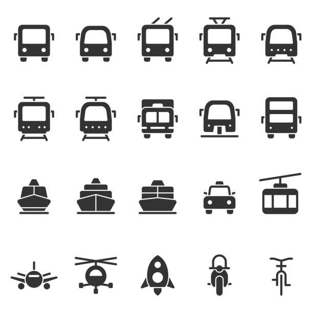 illustrazioni stock, clip art, cartoni animati e icone di tendenza di public transport vector shape style icon set - automotive