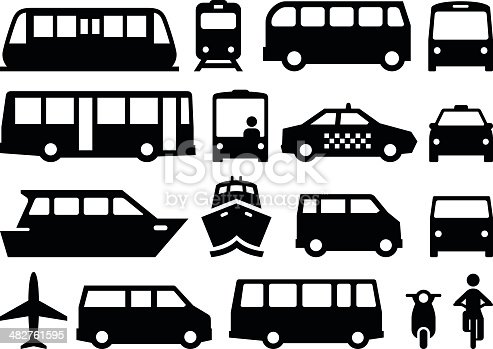 Illustration of forms of public transportation. Includes trains, buses, boats, vans and more. Vector icons for video, mobile apps, Web sites and print projects. See more in this series.