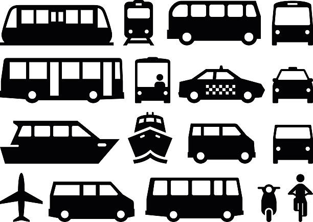 Public Transportation - Black Series Illustration of forms of public transportation. Includes trains, buses, boats, vans and more. Vector icons for video, mobile apps, Web sites and print projects. See more in this series. airport clipart stock illustrations