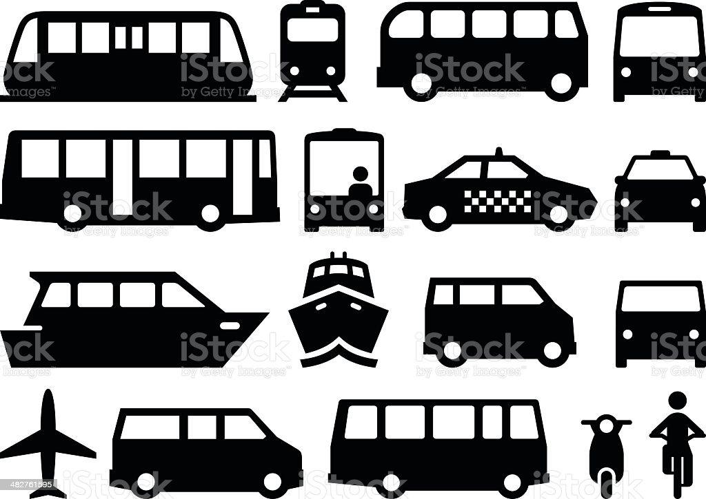 Les transports en commun-Noir Series - Illustration vectorielle