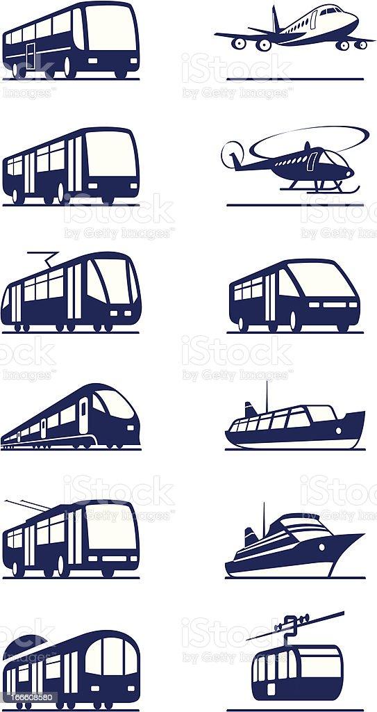Public transportation icon set vector art illustration