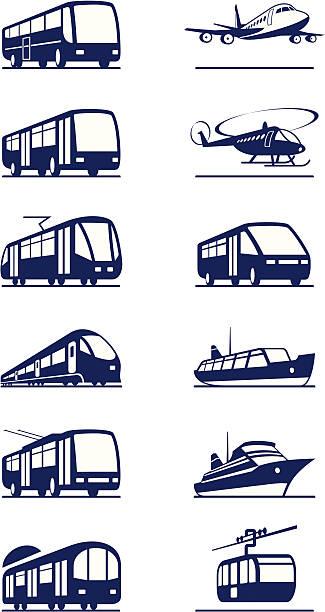 公共の交通機関のアイコンを設定 - バス点のイラスト素材/クリップアート素材/マンガ素材/アイコン素材
