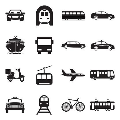 Public Transportation Icons. Black Flat Design. Vector Illustration.