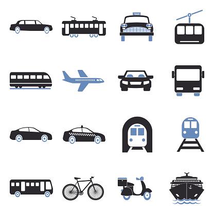 Public Transportation Icons. Two Tone Flat Design. Vector Illustration.