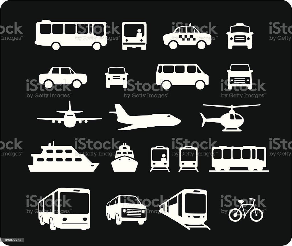 Icone di trasporto pubblico - illustrazione arte vettoriale