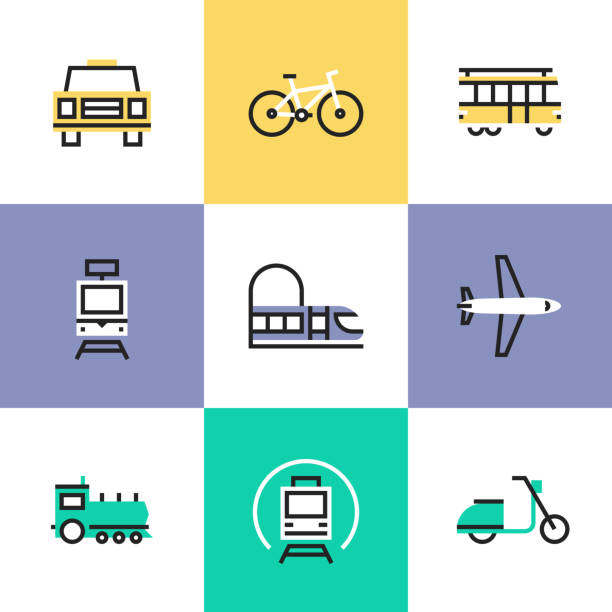 public transportation pictogram icons set - в пути stock illustrations