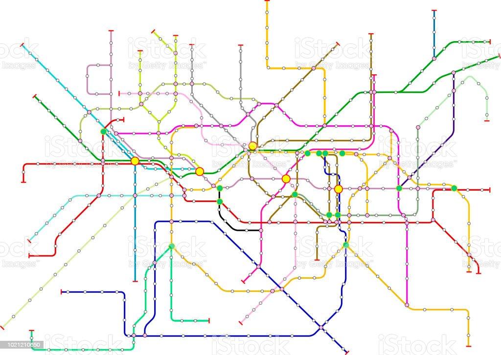 Öffentliche Verkehrsmittel, u-Bahn-Karte, fiktive Vektorgrafiken – Vektorgrafik
