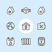 Public Utilities and Meters - outline icon set