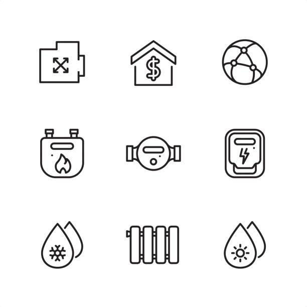 ilustraciones, imágenes clip art, dibujos animados e iconos de stock de servicios públicos y suministrar metros - iconos de contorno pixel perfect - amperímetro
