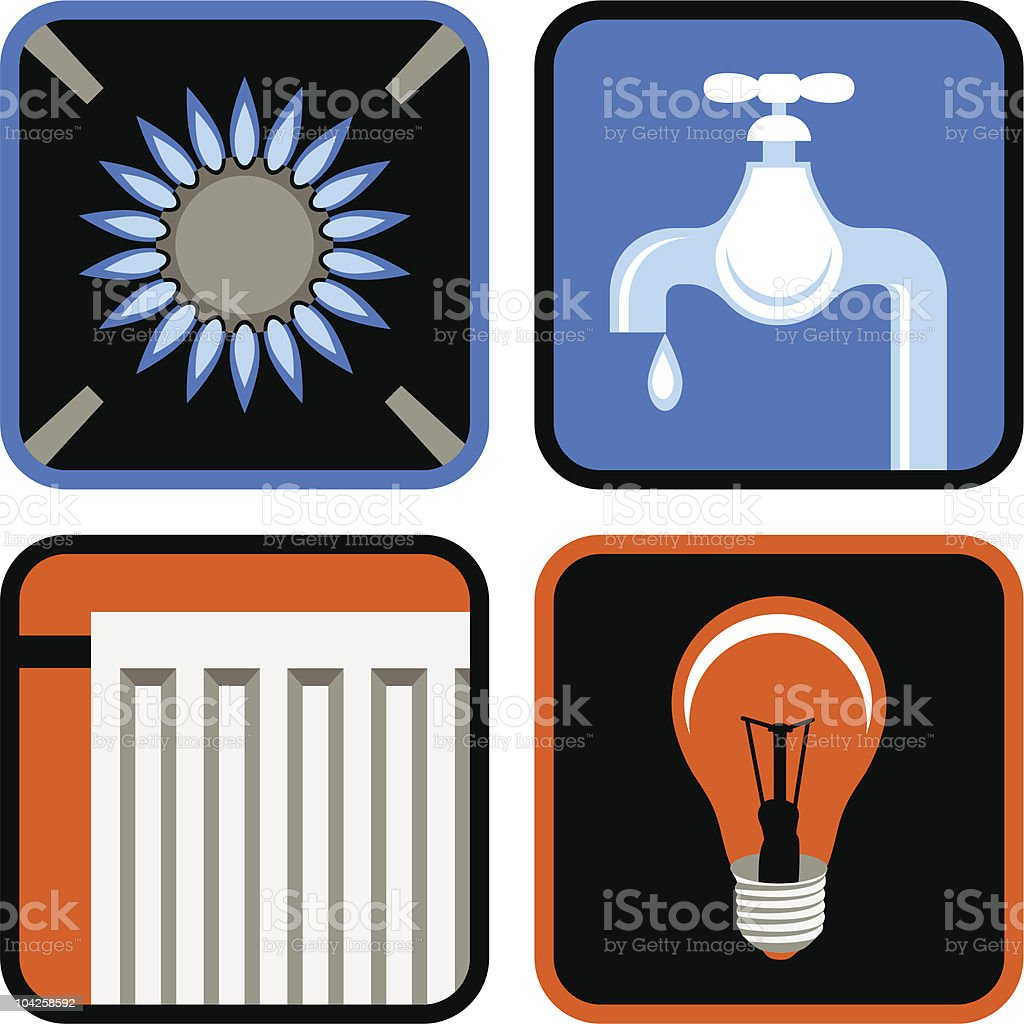 Public Utilities Icon Set royalty-free stock vector art