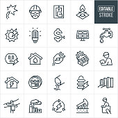 A set of public utilities icons that include editable strokes or outlines using the EPS vector file. The icons include electricity, an engineer, light switch, natural gas, gas range, solar energy, cfl light bulb, solar panel, energy, water spigot, power outlet, public water utility, power plug, house, electrical worker, utility meter, power transformer, dam and power line to name a few.