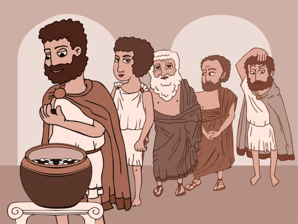 öffentliche stimmabgabe im antiken griechenland lustige karikatur - paphos stock-grafiken, -clipart, -cartoons und -symbole