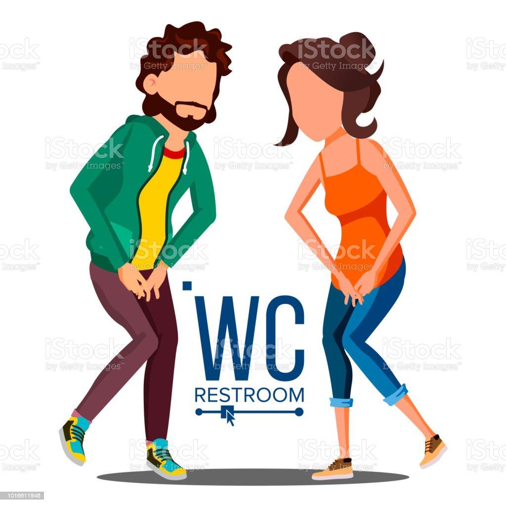 Public Wc Sign Vector Door Plate Design Element Man Woman Bathroom