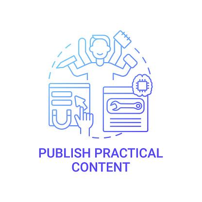 Publish practical content concept icon