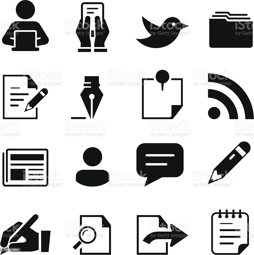 Publishing Icons - Black Series vector art illustration