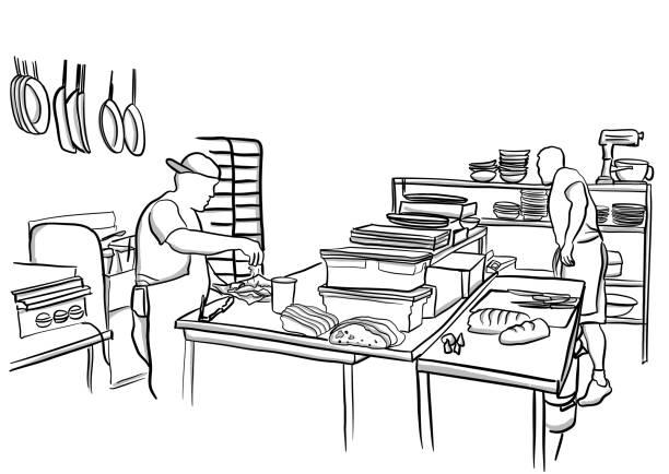 pub es küche - gewerbliche küche stock-grafiken, -clipart, -cartoons und -symbole