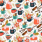 Christmas Holiday Seamles Pattern with Pudding and Hot Drink. Xmas winter poster collection