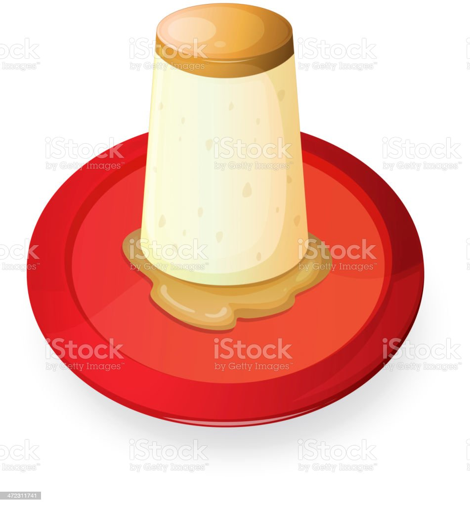 Pudding in red dish royalty-free stock vector art