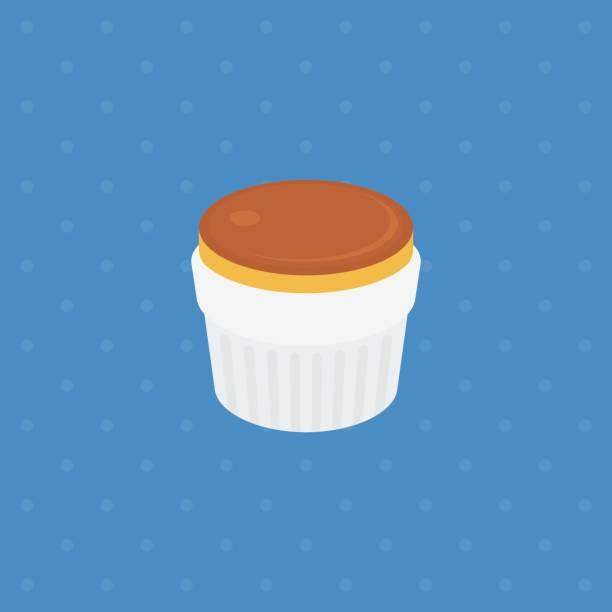 pudding oder pudding mit karamell in platte illustration vektor - vanillesauce stock-grafiken, -clipart, -cartoons und -symbole
