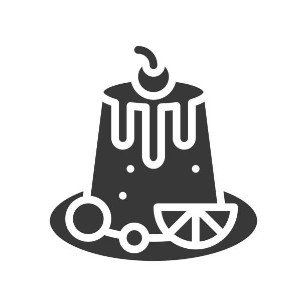 pudding mit beeren, bäckerei und konditorei, glyph-symbol - vanillesauce stock-grafiken, -clipart, -cartoons und -symbole