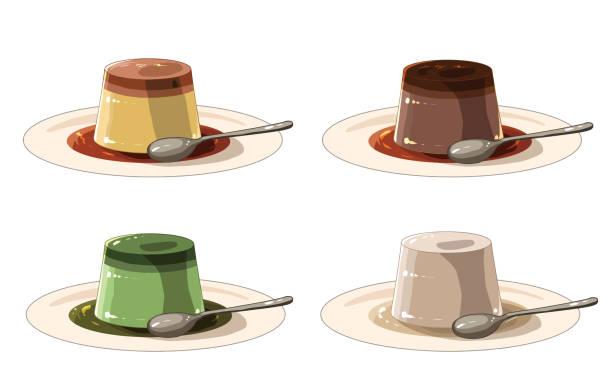 ソース付きプリン(スプーン付き) - プリン スプーン点のイラスト素材/クリップアート素材/マンガ素材/アイコン素材