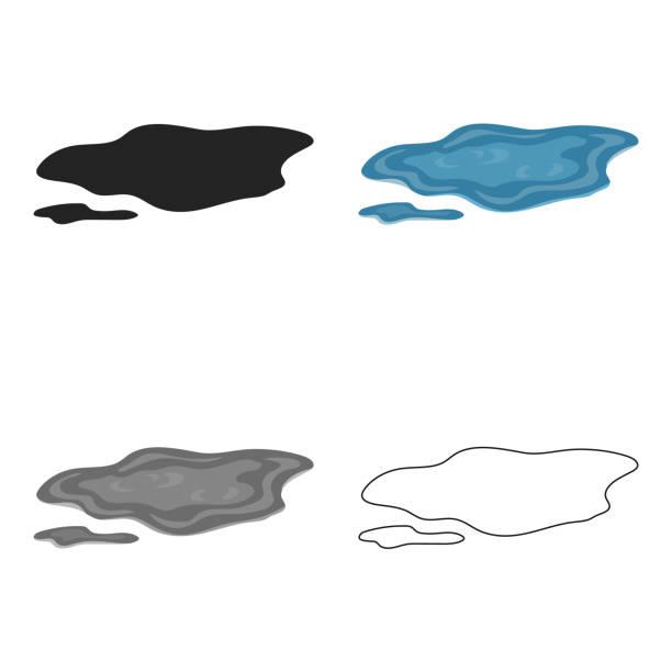 Puddle icon in cartoon style isolated on white background. Weather symbol stock vector illustration web - illustrazione arte vettoriale