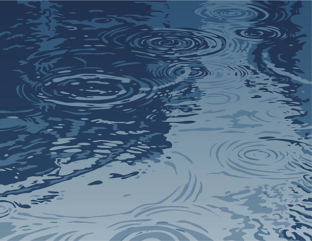 Puddle on a Rainy Day  rippled stock illustrations