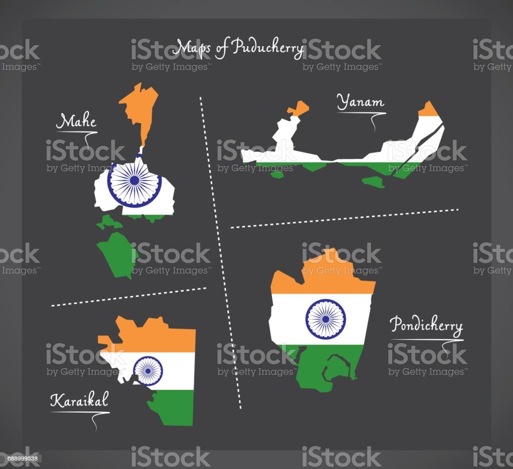 Puducherry detailed maps map with Indian national flag illustration vector art illustration