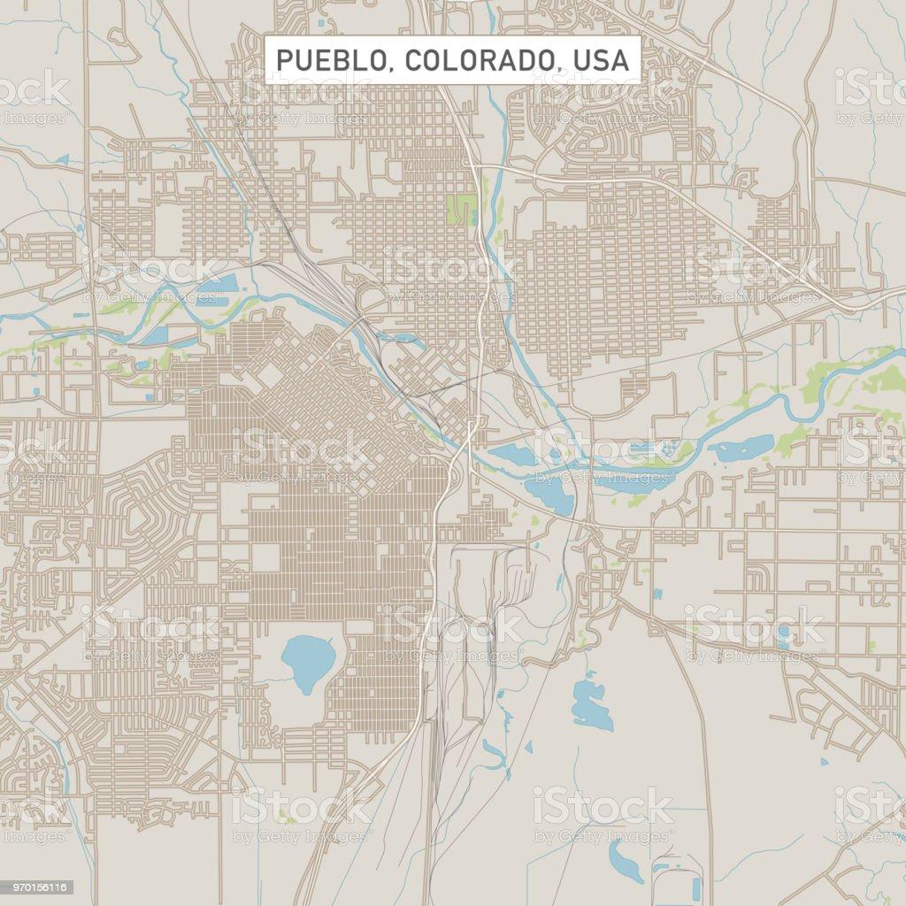 Pueblo Colorado Us City Street Map Stock Vector Art & More Images of ...