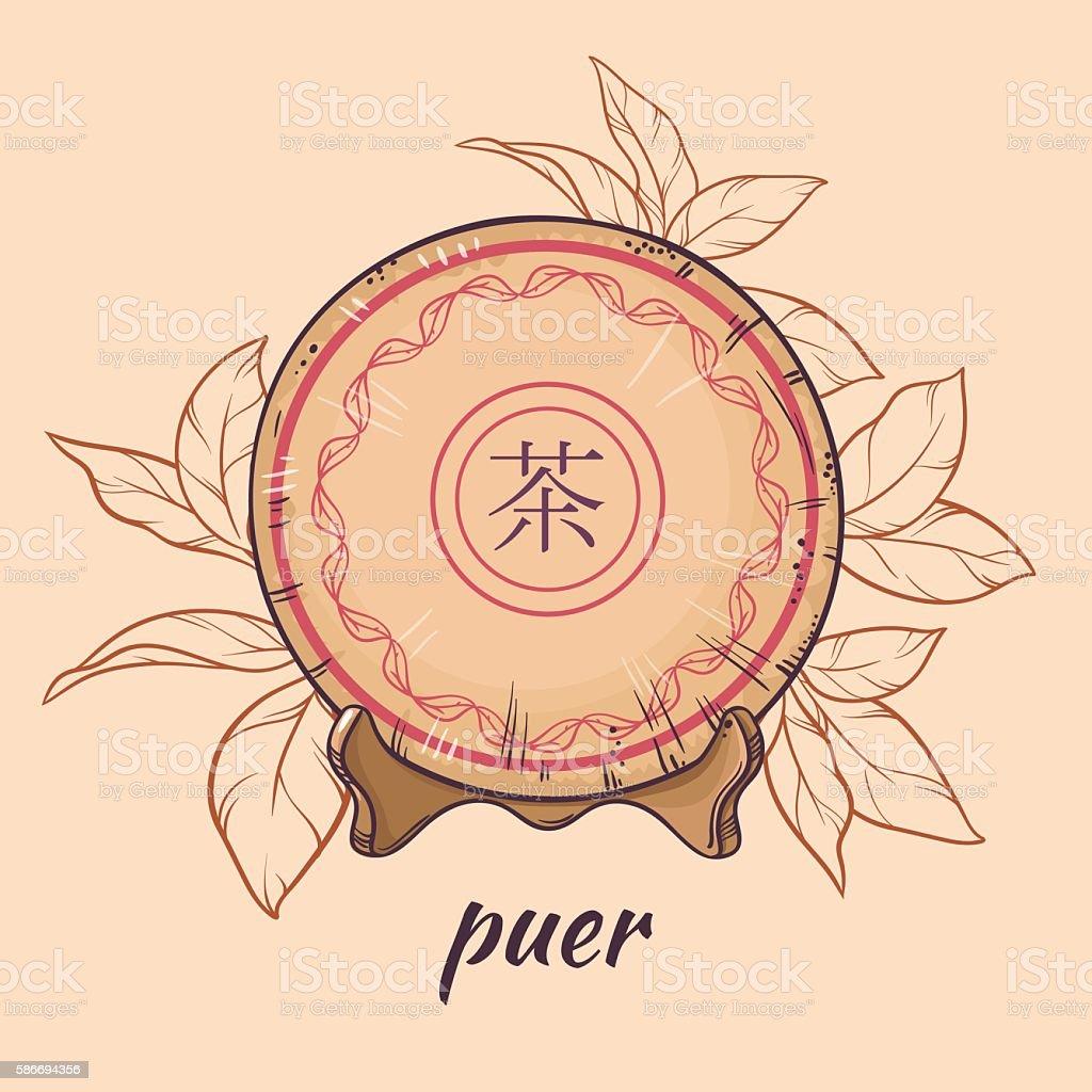 puer tea on brown background vector art illustration