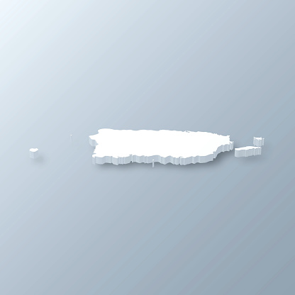 Puerto Rico 3D Map on gray background