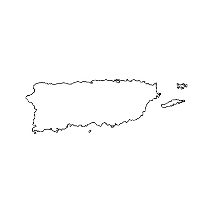 Puerto Rico country line of America, American map illustration, vector isolated on white background, outline style
