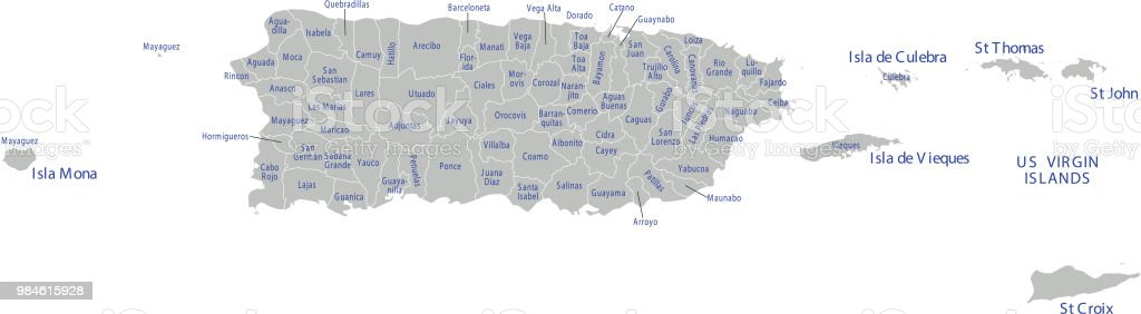 Puerto Rico County Map Labeled Vector Outline Gray Background Stock ...