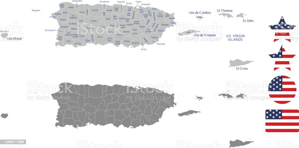 United States Map With Puerto Rico.Puerto Rico County Map Vector Outline In Gray Background Puerto Rico