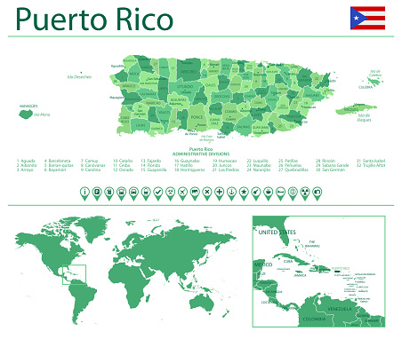 Puerto Rico detailed map and flag. Puerto Rico on world map.