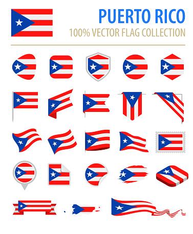 Puerto Rico - Flag Icon Flat Vector Set