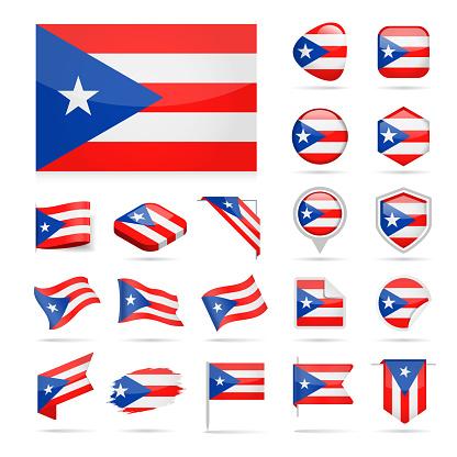 Puerto Rico - Flag Icon Glossy Vector Set