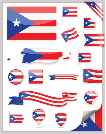 Puerto Rico Flag Set - Vector Collection