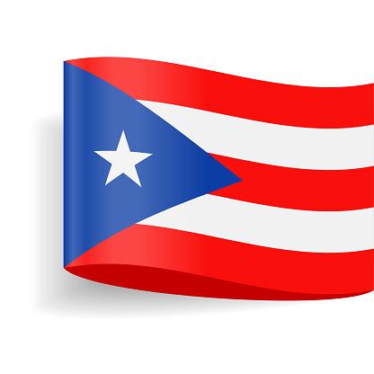 Puerto Rico Flag Vector Label Tag Icon