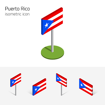Puerto Rico flag, vector set of 3D isometric flat icons