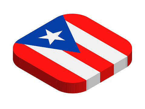Puerto Rico - Isometric 3D Flag Vector Flat Icon
