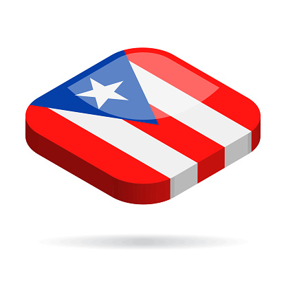 Puerto Rico - Isometric 3D Flag Vector Glossy Icon