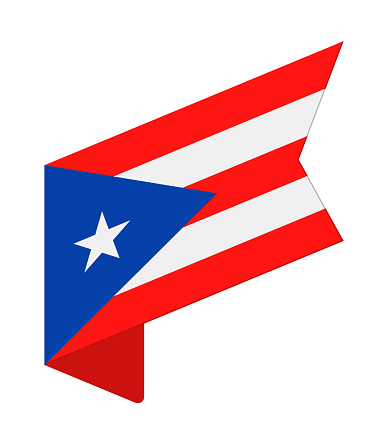 Puerto Rico - Isometric Label Flag Vector Flat Icon