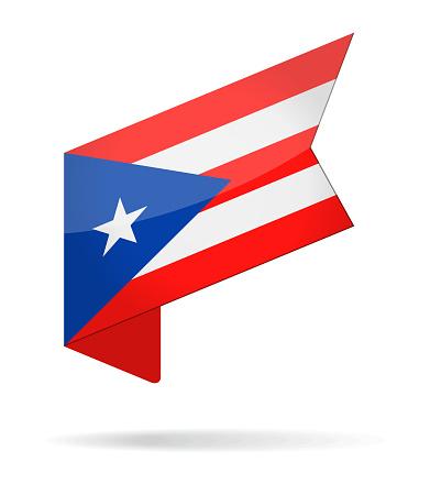 Puerto Rico - Isometric Label Flag Vector Glossy Icon