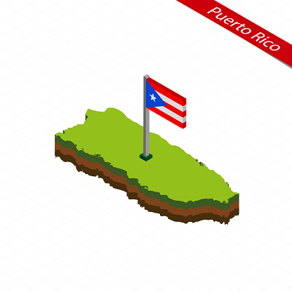 Puerto Rico Isometric map and flag. Vector Illustration.