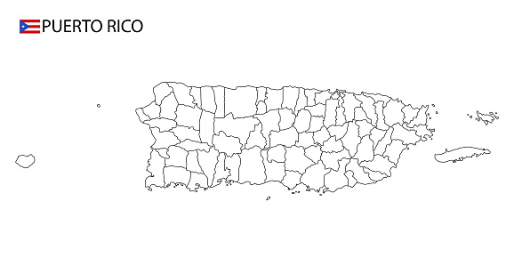 Puerto Rico map, black and white detailed outline regions of the country.