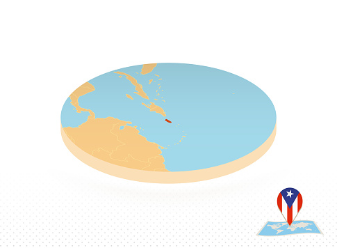 Puerto Rico map designed in isometric style, orange circle map.