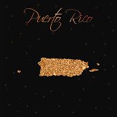 Puerto Rico map filled with golden glitter.